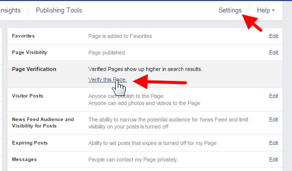 facebook page verificaiton