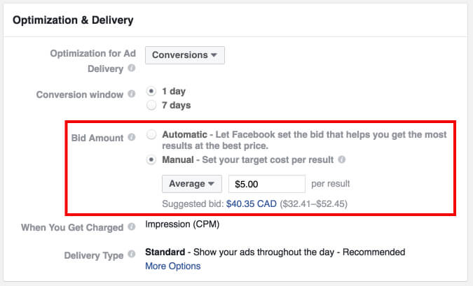 bid-amount facebook