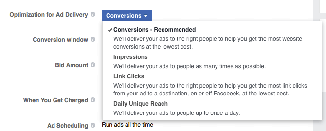 facebook ad optimization for delivery