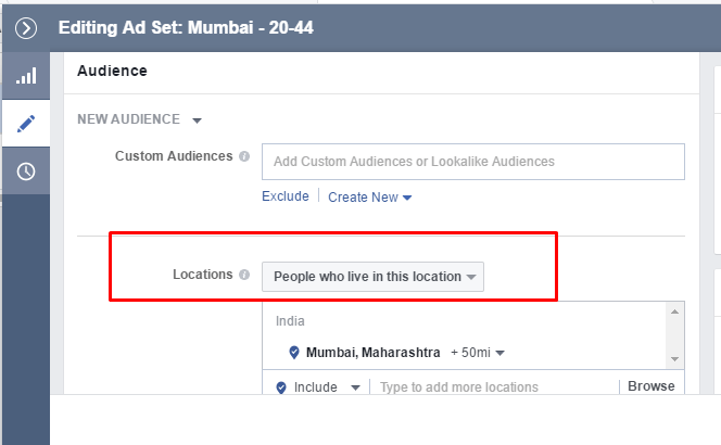 selecting location facebook ads