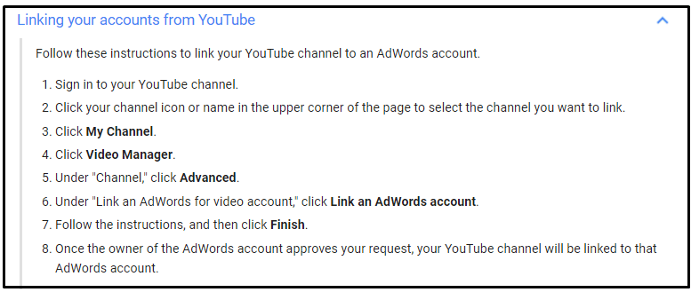 Link adwords to youtube