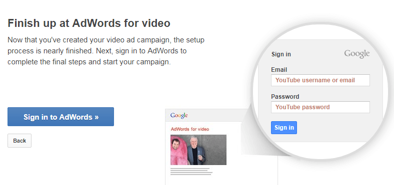 sign in to Adwords
