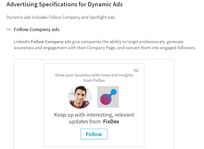 ads specs linkedin