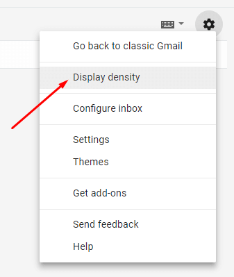 Display density gmail setting