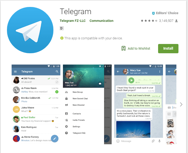 Telegram feature