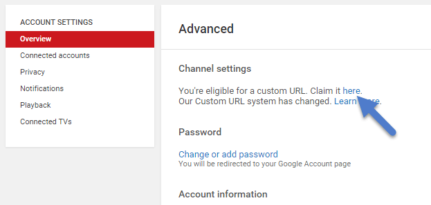 create custom url on Youtube