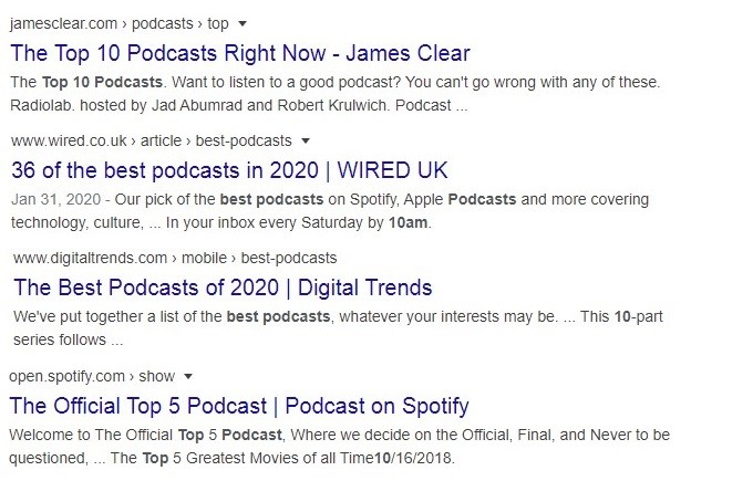 spotify podcasts google search result