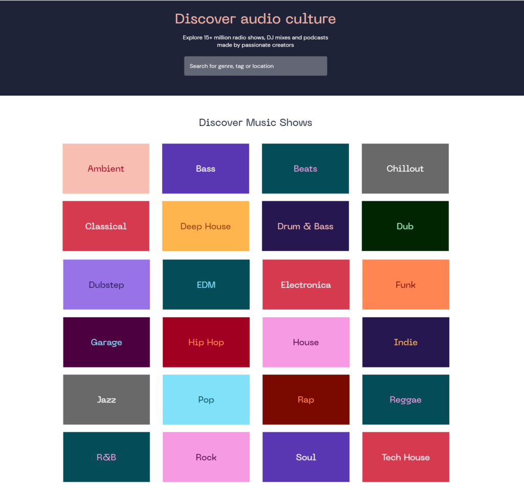 mix categories on mixcloud.com