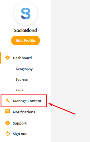 manage content option in audiomack