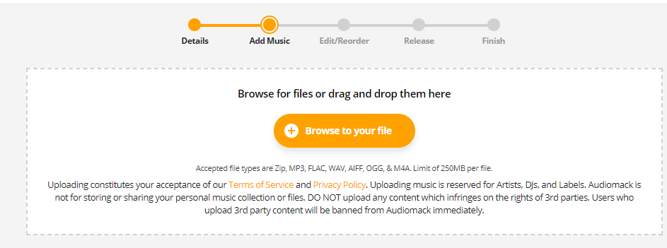 select file and upload on audiomack