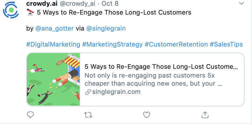 Add links in tweets to increase engagement