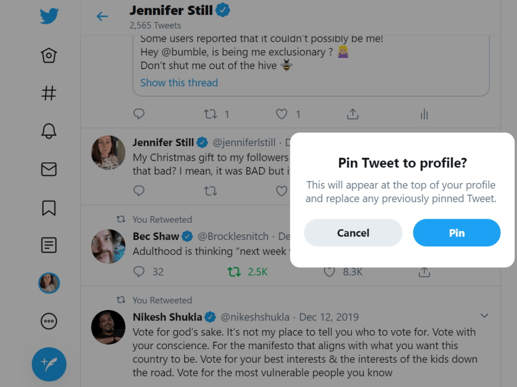 How to Pin Tweet to your profile