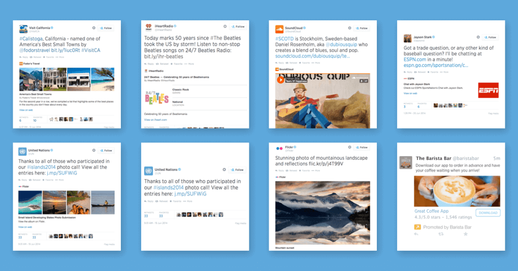 Twitter Cards of Various Brands