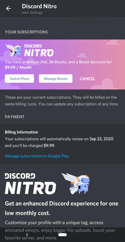 Discord Nitro Paid Plans