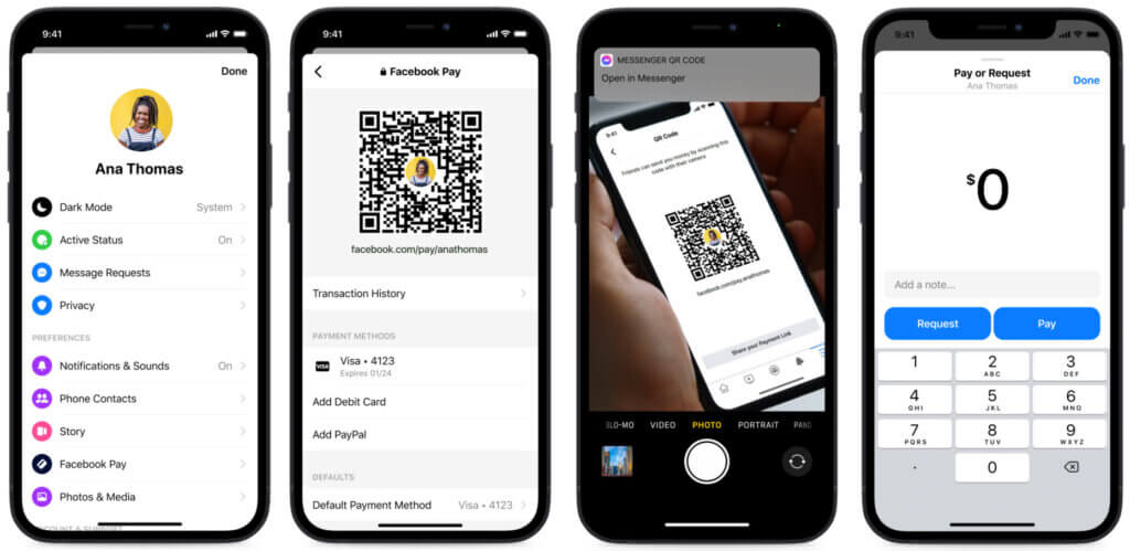 Facebook Pay feature & QR code for Payments on Messenger
