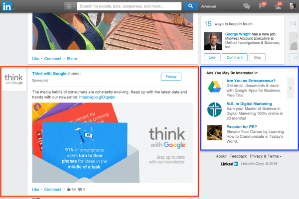 Types of Linkedin Ads