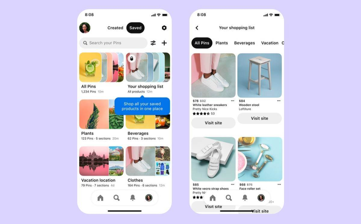 Pinterest latest shopping features