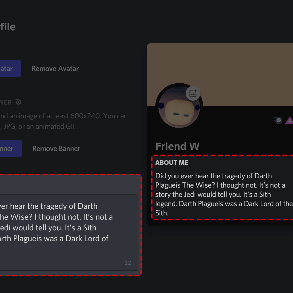 Discord About Me Feature