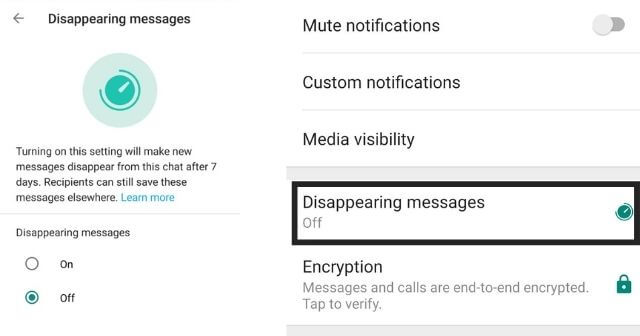How to use Disappearing Messages Feature on Whatsapp