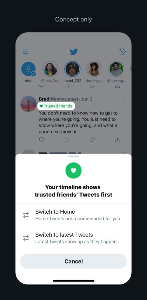 Twitter Trusted Friends Feature on Timeline