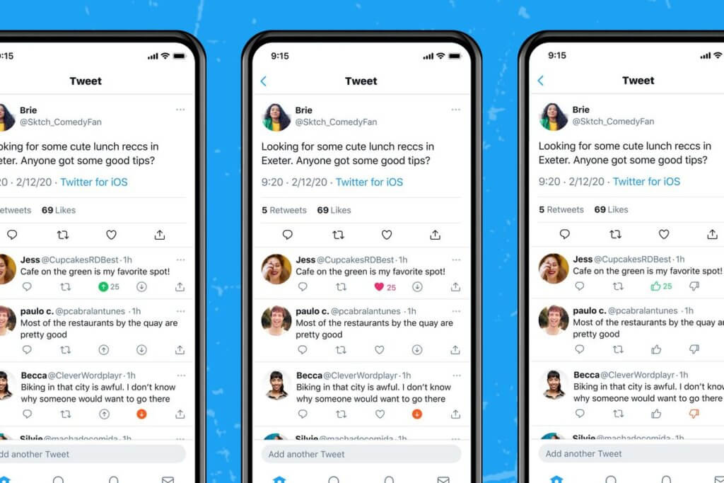 Twitter testing upvote and downvote feature in iOS app